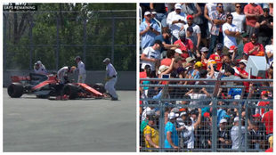 Fernando Alonso se mezcla con los espectadores después de abandonar...