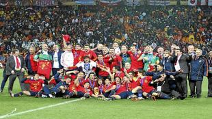 La selecci�n espa�ola, celebrando el t�tulo mundial de Sud�frica...