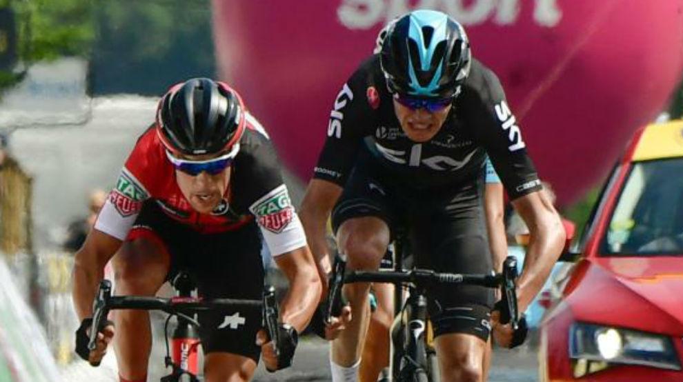 Richie Porte y Chris Froome durante el pasado Dauphiné.
