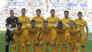 Once titular del UCAM en su partido ante el Oviedo en el Carlos...
