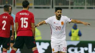 Nolito celebra un gol en un partido de Espa�a contra Albania.