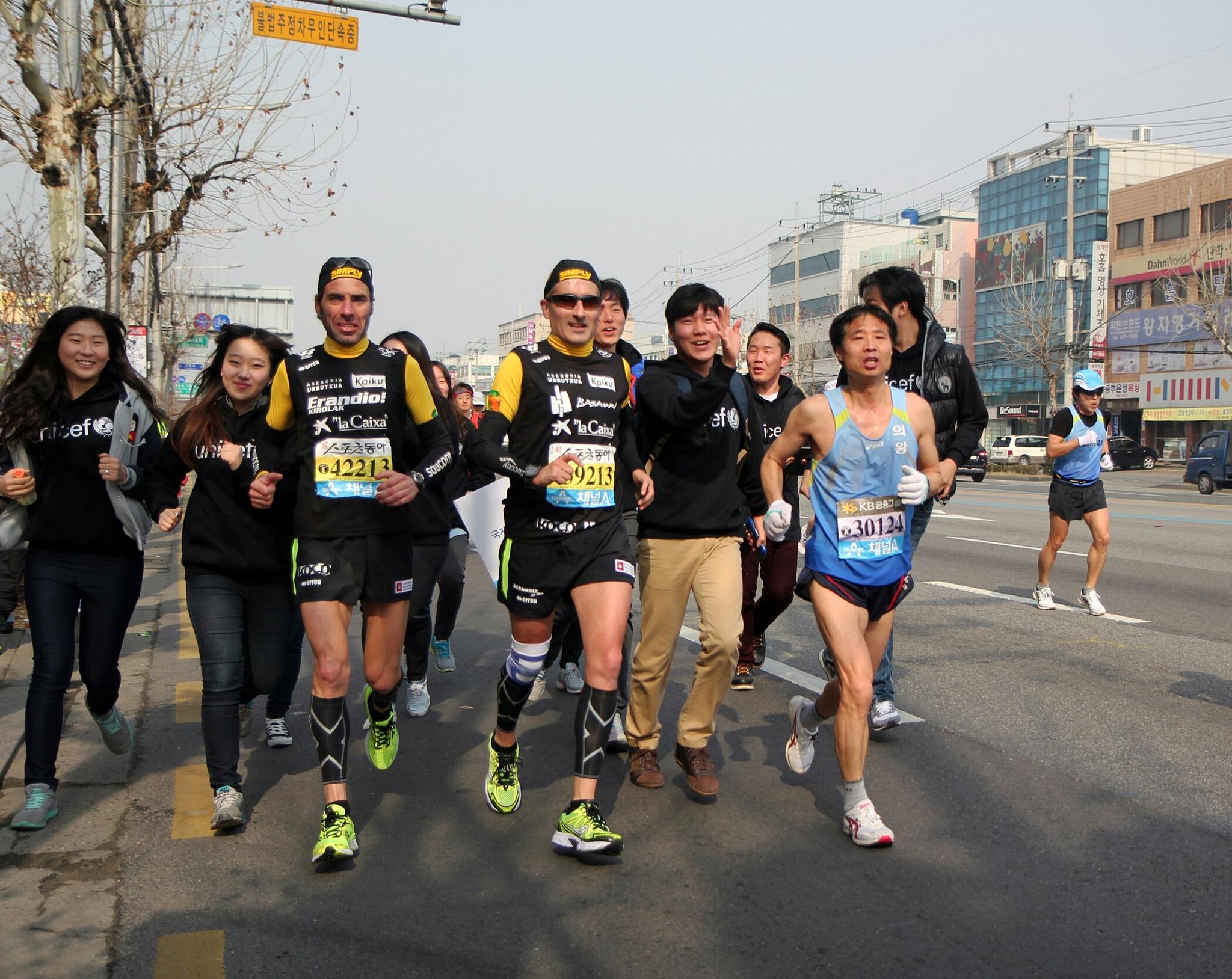 Jon Salvador y Javier Conde, en uno de sus maratones.