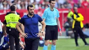Diego Martínez, durante un partido del Sevilla Atlético reciente en...
