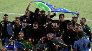 La selección de Islas Salomón celebra su clasificación para la...