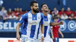 Siovas celebra un gol con el Leganés la pasada temporada