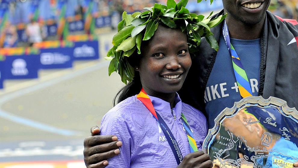Mary Keitany, tras el maratón de Nueva York de 2015.