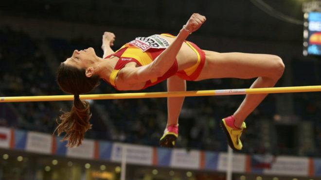 Ruth Beitia en el Europeo Indoor de este año en Belgrado.