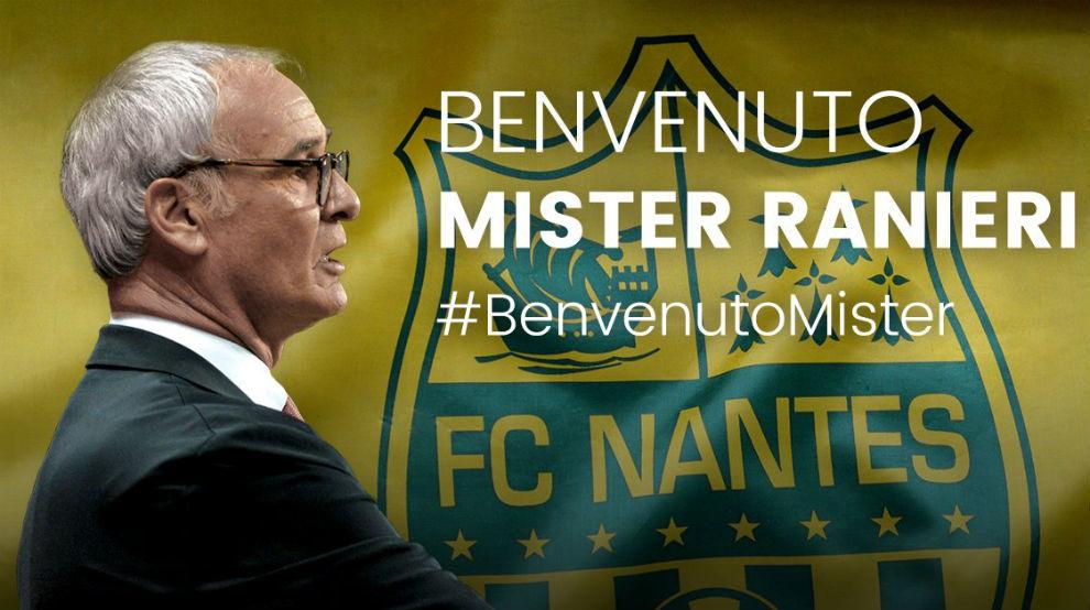 Imagen colgada en el Twitter del Nantes para anunciar la llegada de...