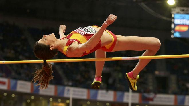 Ruth Beitia, en el Europeo de pista cubierta.