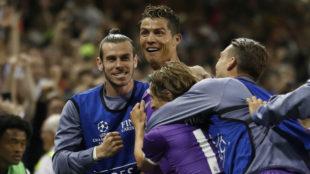 Ronaldo celebra uno de los goles de la final de Cardiff