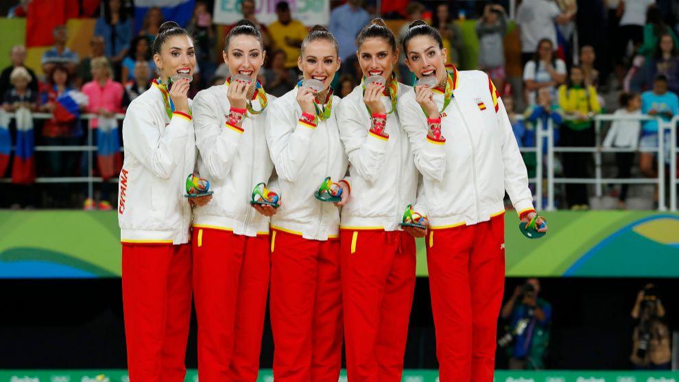 El equipo español de gimnasia rítmica en Río 2016