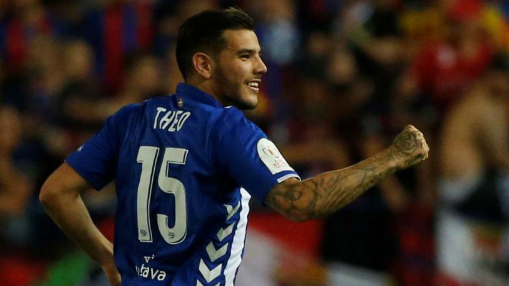 Theo celebrando el gol que le marcó al Barça en la Copa.