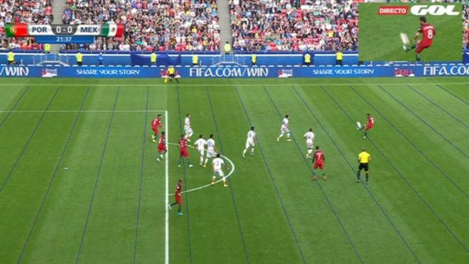 Imagen del VAR donde se ve la posición adelantada de cuatro jugadores...