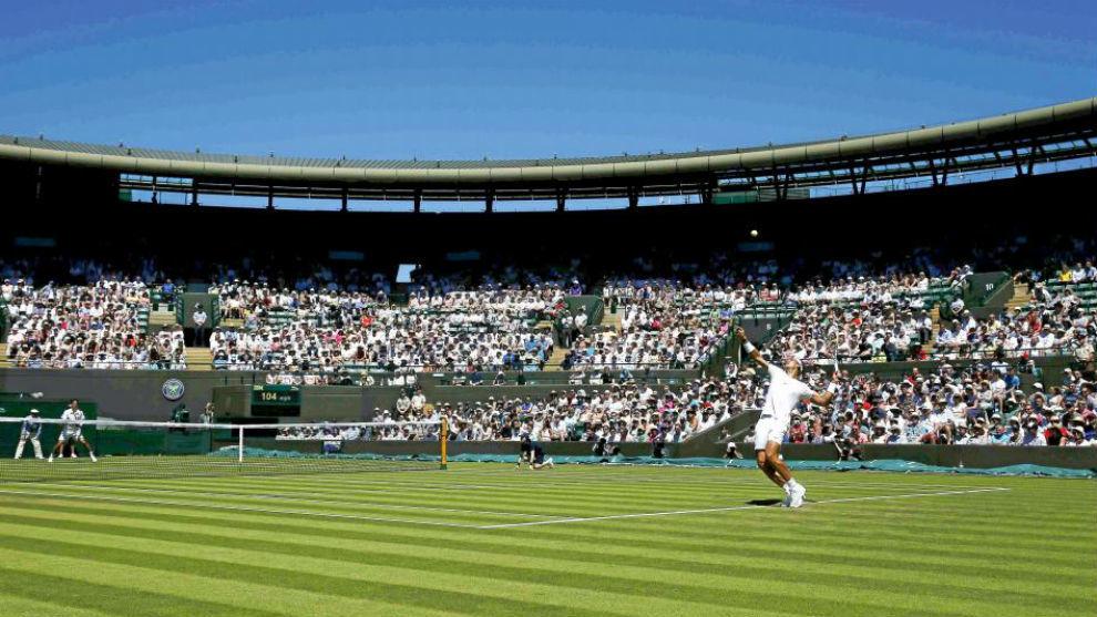 Nadal, en un partido en Wimbledon