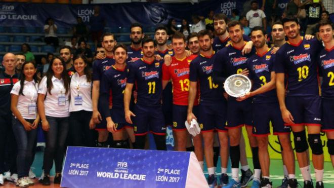Los jugadores de la selección española de voleibol.
