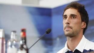 Íñigo Eguaras, durante su presentación en la sala de prensa de La...