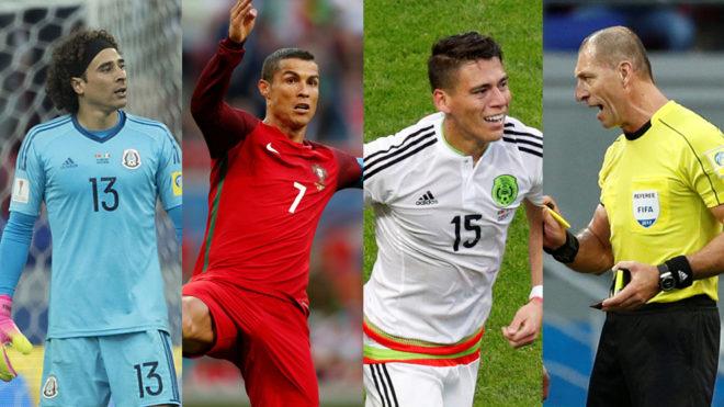 Guillermo Ochoa, Cristiano Ronaldo, Héctor Moreno y el árbitro del...