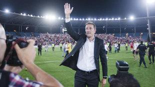Un emocionado Ramis saluda a la afición en el Juegos Mediterráneos...