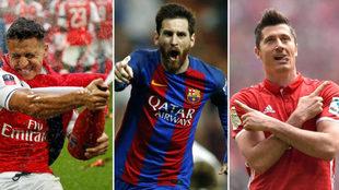 Alexis Sánchez, Messi y Lewandowski mandaron en sus respectivos...