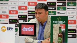 Sanlúcar, durante su presentación como técnico del Real Murcia.
