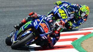 Viñales y Rossi, en el pasado GP de Cataluña.