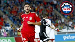 Dani Ceballos durante un partido con la selección española