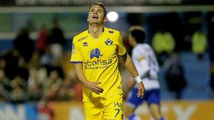 David Rodríguez se lamenta de una ocasión perdida en un partido del...