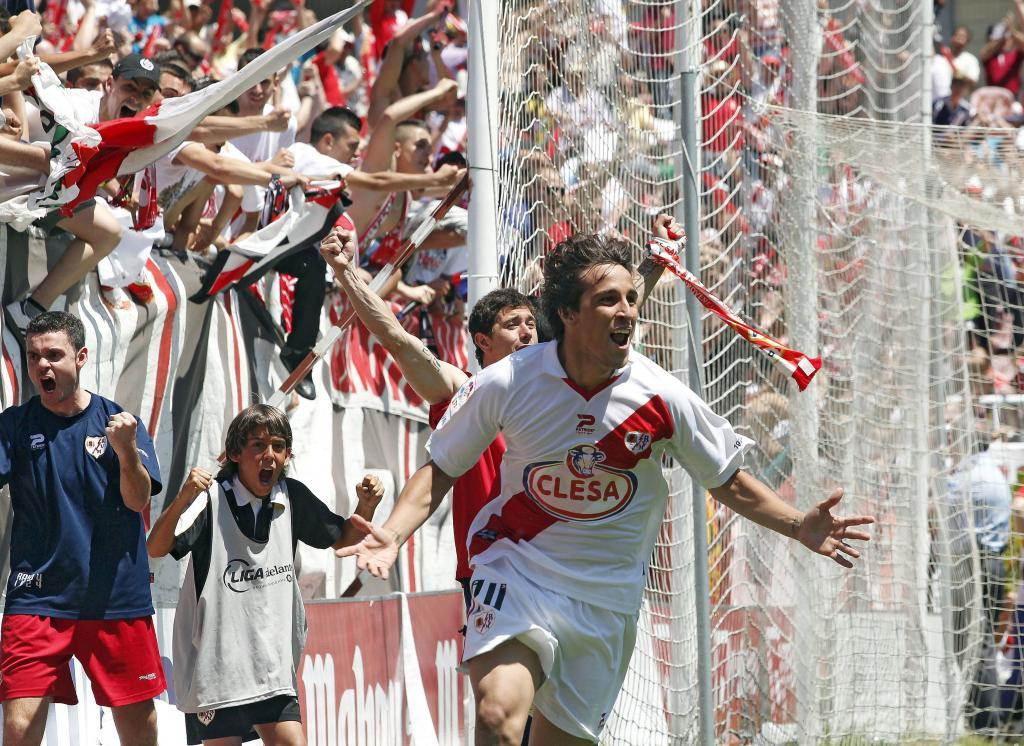 Así celebró Trejo su gol en el partido del ascenso del Rayo