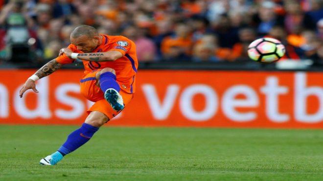 Sneijder, en un partido con la selección holandesa.