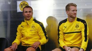 Götze, junto a Schurrle en un entrenamiento del Dortmund