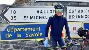 Quintana, durante su reconocimiento de las etapas alpinas del Tour