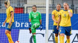 Las jugadoras suecas durante un partido en los Juegos Olímpicos de...
