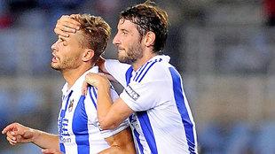 Canales (26) y Granero (29), con la Real.