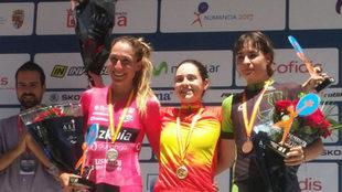 El podio femenino del Campeonato de España contrarreloj.