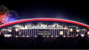 Recreación de la fachada del Wanda Metropolitano.