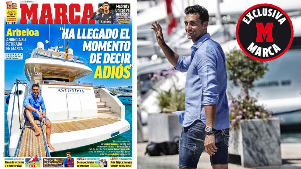 La portada de este sábado junto con una foto de Arbeloa...