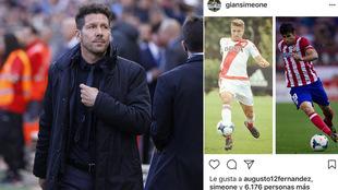 El mensaje de Gianluca Simeone en Instagram con el 'like'...