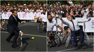 El jefe de Estado francés jugando al tenis de pie y en silla.