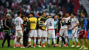 Los jugadores mexicanos celebran la clasificación a semifinales