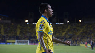 Araujo celebra un gol con Las Palmas.