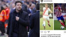 El mensaje de Gianluca Simeone en Instagram con el 'like' del Cholo.
