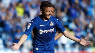 Portillo, celebrando un gol con el Getafe