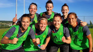 Las jugadoras belgas posan tras un entrenamiento.