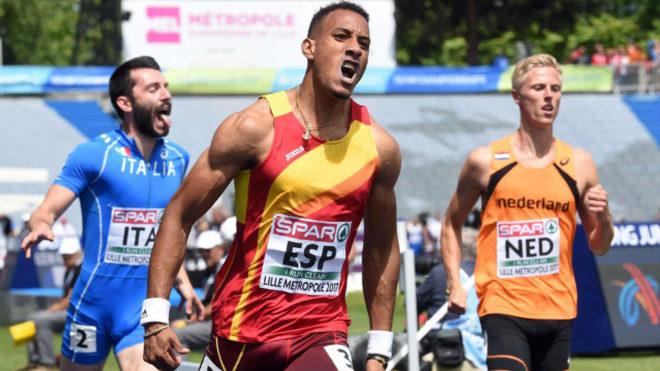 Orlando Ortega celebra su victoria en los 110 metros vallas.