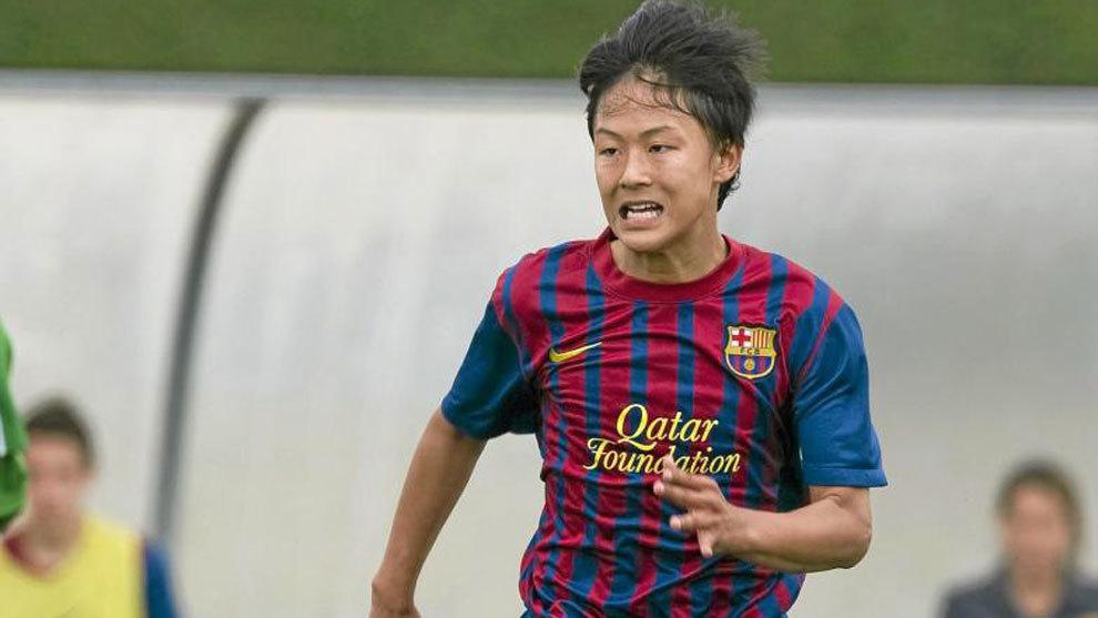 Lee Seung-woo, en acción con las categorías inferiores del Barça