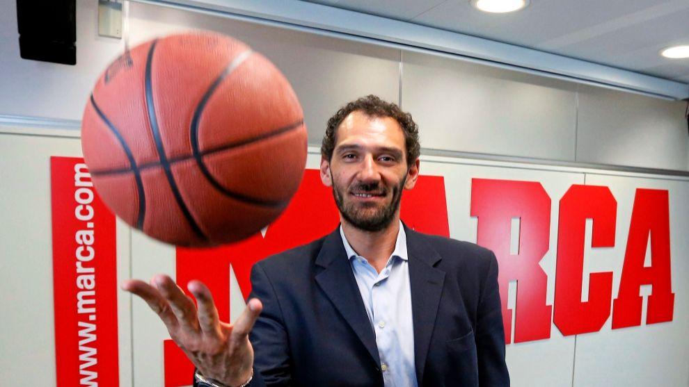 Jorge Garbajosa en la redacción de MARCA