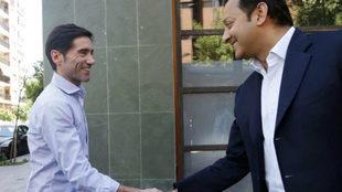 Marcelino y Anil Murthy tras una comida de trabajo.