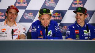 Márquez, Rossi y Viñales en Austin