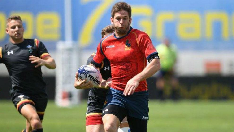 Marcos Poggi, en el partido ante Gales del pasado Seven de Lodz...