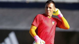 Diego Alves, durante un entrenamiento en Paterna de la pasada...